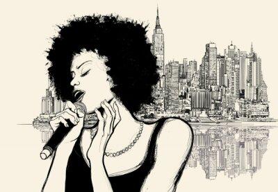 Posters La chanteuse de jazz afro-américain