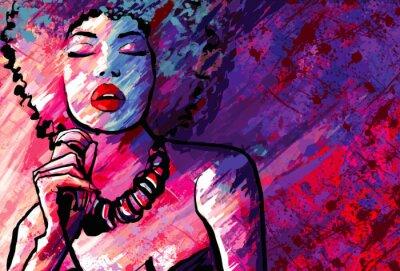 Posters La chanteuse de jazz avec micro sur le fond grunge