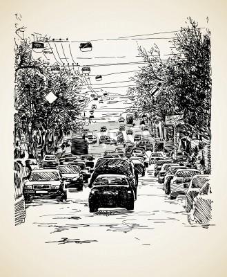 Posters la composition du trafic de la ville d'art de la ligne de tirage de la main