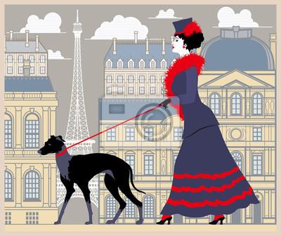 La dame à la promenade avec le chien à Paris. Illustration vectorielle dessin dessinée à la main. Style vintage