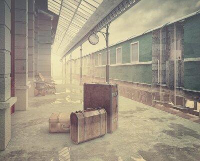 Posters la gare de chemin de fer rétro