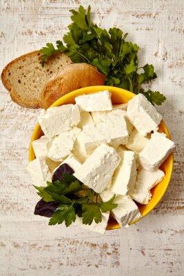Posters la nourriture saine. Maison, fromage, pain, blanc, bois, fond