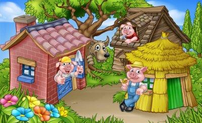 Posters La scène de conte de fées des trois petits cochons