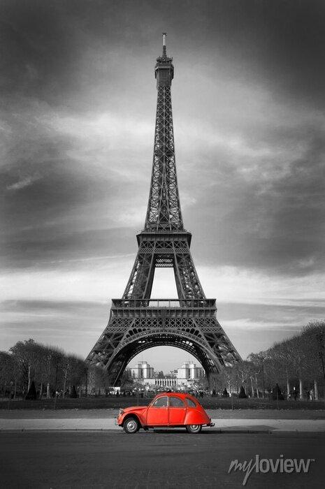 Posters La Tour Eiffel et voiture rouge-Paris