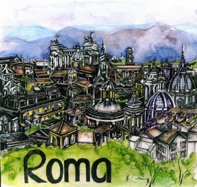 Posters La vue panoramique de l'aquarelle rom de l'union européenne