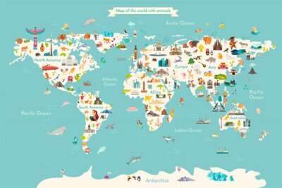 Posters Landmarks world map vector cartoon illustration. Cartoon globe vector illustration. landmarks, signs, animals of countries and continents. Abstract map for learning. Poster, picture, card