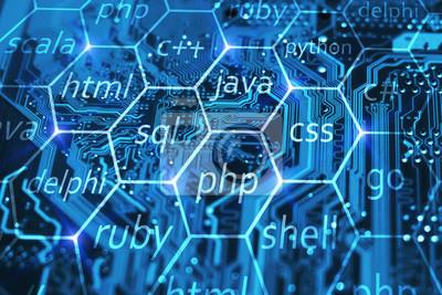 Posters Langage de programmation et développement de concept d'applications sur circuit intégré bleu. Cours de formation en PHP, SQL, HTML, CSS et autres disciplines.