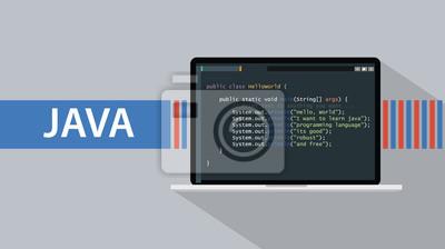 Posters langage de programmation Java avec ordinateur portable et le script de code sur l'écran vector illustration