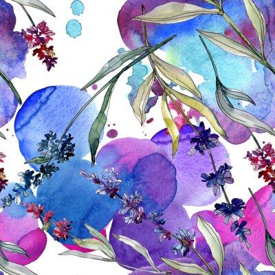 Posters Lavender floral botanical flowers. Watercolor background illustration set. Seamless background pattern.