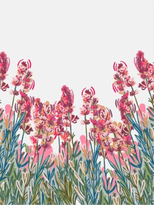 Posters lavender vecor background pink flower card colorful