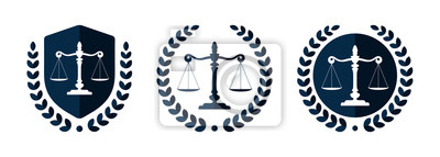 Posters Law firm logo set. Law office logotypes set with scales of justice. Symbols of legal centers or law advocates. Scales of justice icons.