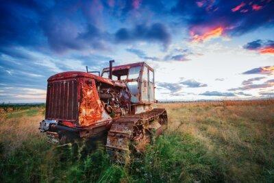 Posters Ld, rouillé, tracteur, champ, coucher soleil