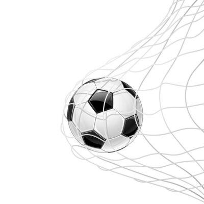 Posters Le ballon de football dans la grille isolée. Vecteur