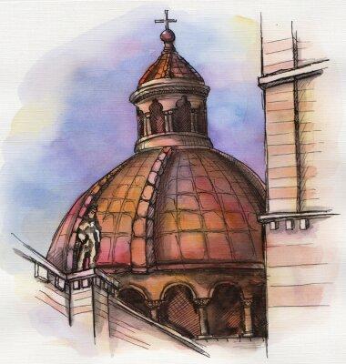 Posters Le célèbre bâtiment de la Santa Maria de Florence dessin à la main aquarelle