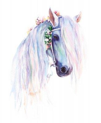 Posters Le cheval bleu avec des fleurs dans la crinière. Peinture aquarelle originale.