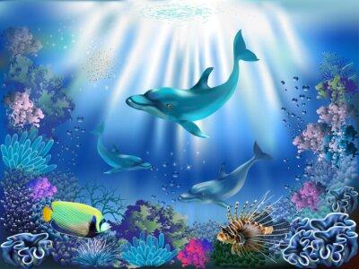 Posters Le monde sous-marin avec les dauphins et les plantes