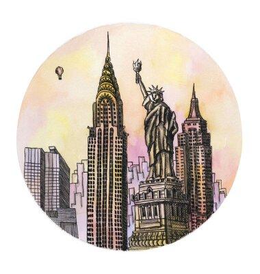 Posters Le New York avec le dessin de main de l'aquarelle de monument de liberté, le buillding d'arhitectural de famouse isolé sur le fond blanc.