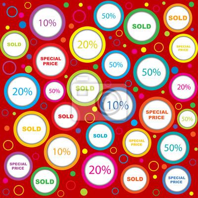 Le papier d'emballage avec vendus et discounds annonces en cercle coloré