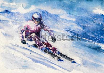 Posters Le ski de montagne glisse de la montagne. Image créée à l'aquarelle.