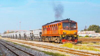 Posters Le train à ballast était au départ de la cour. Thaïlande - Août 2013, le service de balisage de piste était au départ de la jonction Ban Pachi. (Prise de la zone publique.)