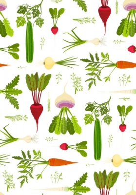 Posters Leafy Vegetables and Greens Seamless Pattern Background