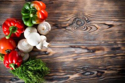 Posters Légumes, bois, fond
