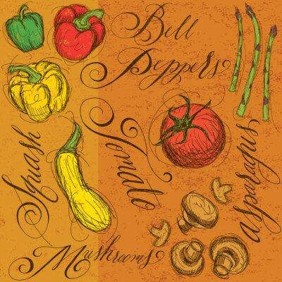 Posters Légumes crus avec calligraphie