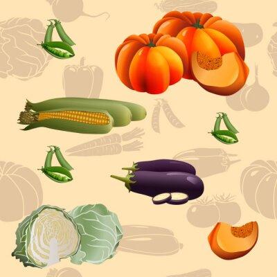 Posters Légumes sans motif: maïs, citrouille