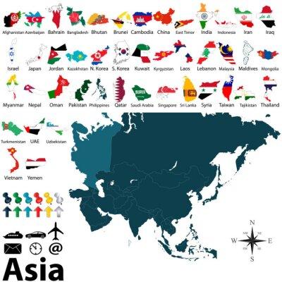 Posters Les cartes politiques de l'Asie