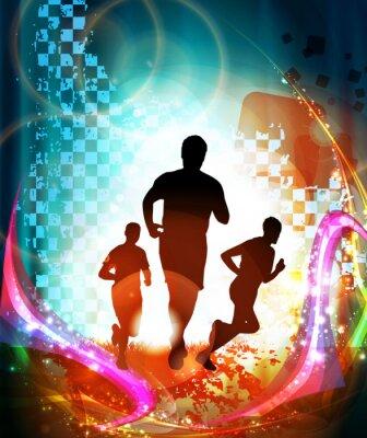 Posters Les coureurs de marathon. Vecteur