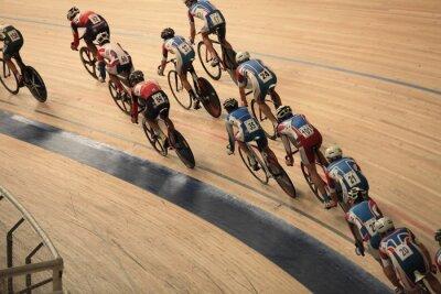 Posters les cyclistes à rouler vite dans une vue de dessus de la courbe