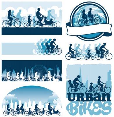 Posters Les cyclistes urbains étiquettes de silhouettes vectoriel éditable