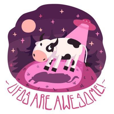 Posters Les ovnis sont géniaux! Vecteur affiche (fond et carte) avec la vache sur la colline et l'OVNI dans la nuit avec pleine lune et les étoiles (style cartoon)