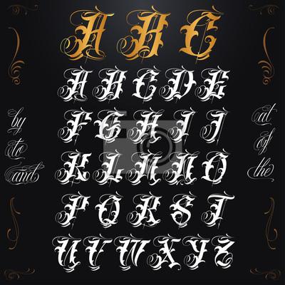 Lettrage De Tatouage Dor Affiches Murales Posters Rudiments Lettre Majuscule Typeface Myloview Fr