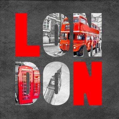 Posters Lettres de Londres avec des images sur fond noir