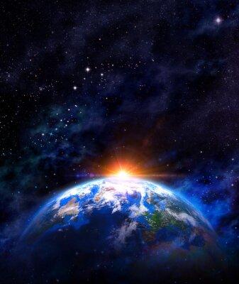 Posters lever de soleil sur la terre dans l'espace
