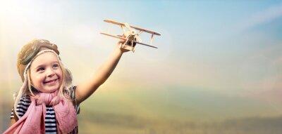 Posters Liberté, rêver - joyeux, enfant, jouer, avion, contre, ciel