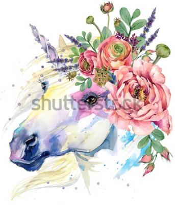 Posters Licorne. illustration de bouquet de fleurs aquarelle. fond fantastique. Cheval Blanc.
