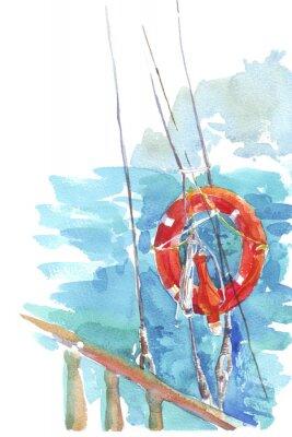 Posters Lifebuoy océan mer aquarelle illustration