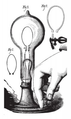 Posters Lightbulb, vintage illustration