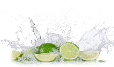 Posters Limes with water splash