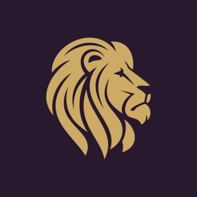 Posters Lion tête logo ou icône en une seule couleur. Illustration vectorielle stock.