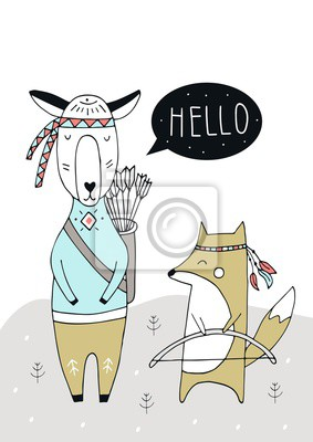 Posters Little Explorer - Cute hand drawn nursery poster with fox, llama and lettering in scandinavian style.
