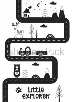 Posters Little explorer - Cute hand drawn nursery poster with road, wild animals and car. Unique card in black and white scandinavian style. Monochrome vector illustration.