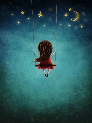 Posters Little fairy girl swingig