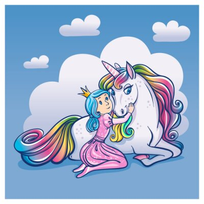 Posters Little Princess Girl and Cute Unicorn, illustration vectorielle