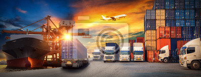 Posters Logistics and transportaIndustrial Container Cargo freight ship, forklift handling container box loading for logistic import export and transport industry concept backgroundtransport industry