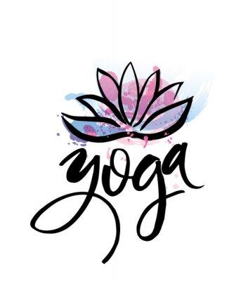 Posters Logo pour le studio de yoga ou la classe de méditation. Éléments de l'aquarelle de logo de logo de Spa. Concept de méditation. Silhouette lotos. Vecteur, Illustration, t-shirt, impression