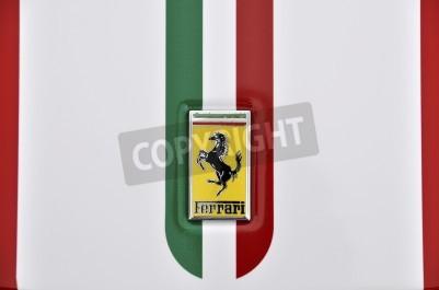 Posters LONDON - SEPTEMBER 4, 2011: Ferrari logo, Italian flag painted on the bodywork of a Ferrari 360 Challenge Stradale
