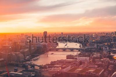 Posters London Skyline - Thames - Coucher de soleil - Été - Sky Garden - Orange